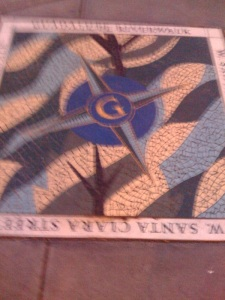 This was going to be such a cool pic of this beautiful mosaic tile compass that we found on the ground at the end of our walk, but it's so blurry.  I'd like to blame it on the fact that we were moving so fast, but it's really just that I'm not the best photographer!