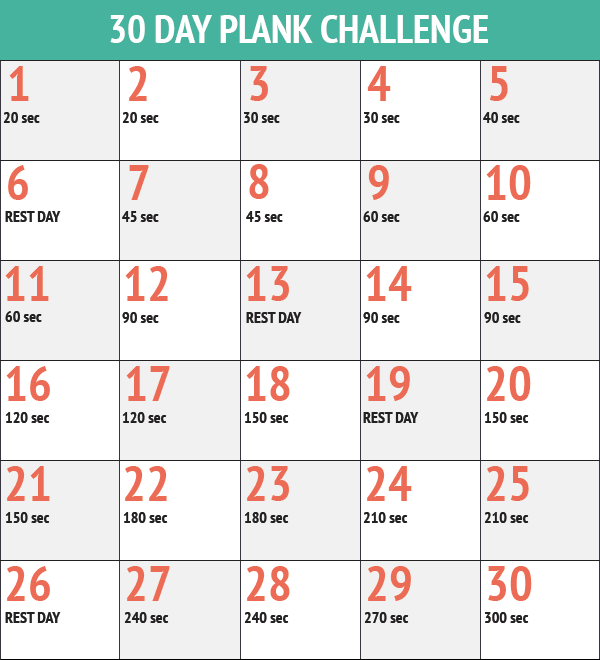 30 Day Workout Challenge Printable | butik.work