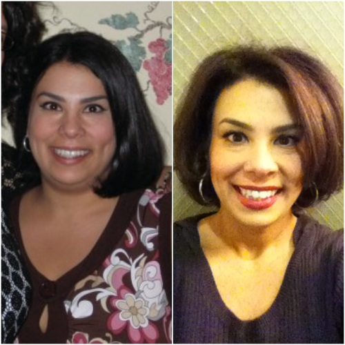 """The photo on the left wasn't at my heaviest weight, but it does show me in a """"before."""" The left was taken just the other day.  I like the way my hair looks straight so much that I am going to get a keratin treatment so I can straighten it myself more easily."""