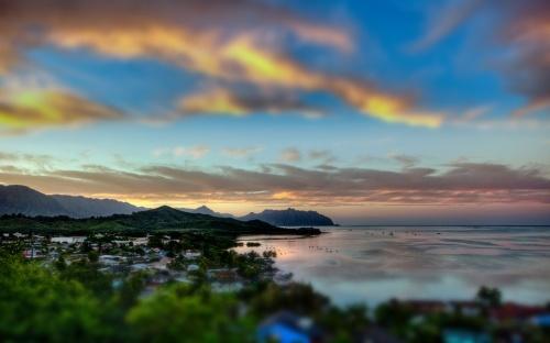 Kaneohe-Bay-Sunset-Tilt-Shift-Tablet-Wallpaper