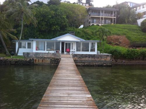 The view of the house from the private dock