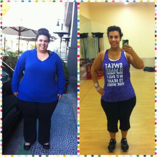 right: just a few pounds down from my heaviest weight - Jan 2013; right: after my workout this morning