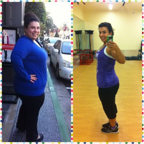 left: just a few pounds down from my heaviest weight - Jan 2013; right: after my workout this morning