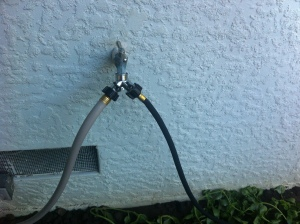 I had no idea you could even put a splitter on a hose.  My dad knows so many tricks!