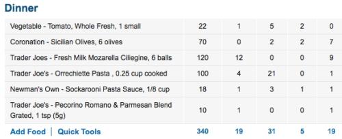 Caprese salad and a tiny bit of pasta